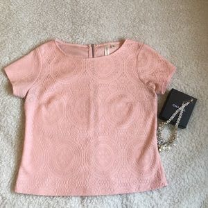 Tops - Pink Lacy Boxy Top